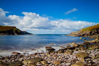 Taken on the rocky shore of Cooncrome Harbour, Looking out into the Atlantic. To see a panoramic view of Coonncrome Harbour, Click here